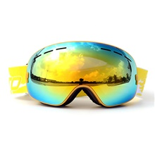BASTO Ski Goggles for Adults' Winter Sports Waterproof Adjustable Size Golden,One Size
