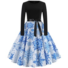 Women's Christmas Party Casual / Daily Street chic Elegant Sheath Swing Dress - Geometric Lace up Patchwork Print Blue S M L XL Blue,XL