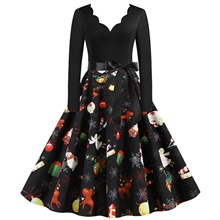Women's Christmas Party Daily Wear Basic A Line Dress - Color Block Santa Claus V Neck Black S M L XL Black,XXL