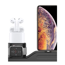 Charging Stand Compatible with Apple Watch Series1/2/3/4 3 in 1 Silicone Charger Station Dock Support NightStand Mode Fits iWatch 38mm-44mm AirPods Fit iPhone Xs/Xs Max/XR/8/8 Plus