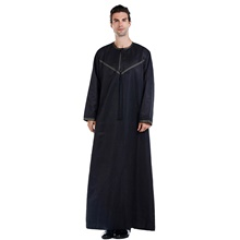 Men's Daily / Work Fall / Winter / Fall & Winter Long Abaya, Solid Colored Round Neck Long Sleeve Polyester White / Black / Beige