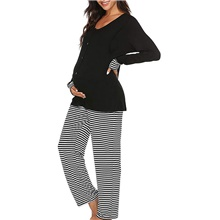 Women's Deep V Suits Pajamas Striped Black,S