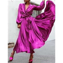 Women's Wrap Dress Maxi long Dress - Long Sleeve Solid Color Spring Summer V Neck Sexy Going out 2020 Purple Red S M L XL XXL XXXL Purple,S