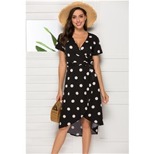 Women's A-Line Dress Midi Dress - Sleeveless Polka Dot Summer V Neck Casual Daily Going out Loose 2020 Black S M L XL