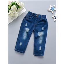 Baby Girls' Basic Solid Colored Ripped Jeans Blue Blue,9-12 Months(80cm)