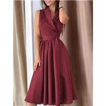 Women's A Line Dress - Sleeveless Solid Color Summer Elegant 2020 Wine Green Navy Blue Gray S M L XL XXL Wine,S