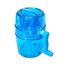 Handle DIY Ice Crusher Manual Multifunction Portable Slush Maker Home Snow Cone Smoothie Block Making Machine Shaver 14cm,Blue