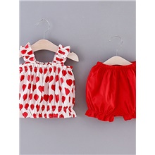 Baby Girls' Basic Color Block Print Sleeveless Short Clothing Set Yellow Red,9-12 Months(80cm)