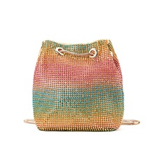 Women's Crystals / Chain Polyester Evening Bag Wedding Bags Color Block Rainbow / Fall & Winter Rainbow