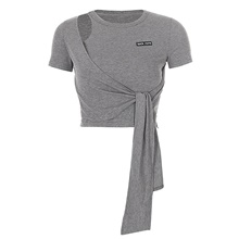Women's Tee / T-shirt Short Sleeves Cut Out Navel Sport Athleisure T Shirt Breathable Soft Comfortable Yoga Exercise & Fitness Running Everyday Use Exercising General Use Grey,S