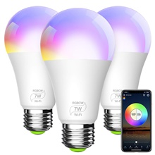 Smart Light Bulb A19 E26 RGBCW WiFi Dimmable Multicolor LED Lights Compatible with Alexa Google Home and IFTTT (No Hub Required) 7W (60w Equivalent) RGB Warm White White,AC110-240V,2 PCS