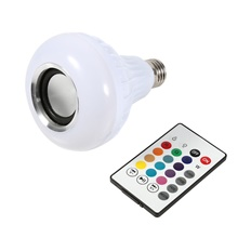 1pcs Smart E27 12W Ampoule LED Bulb RGB Light Wireless Bluetooth Audio Speaker Music Playing Dimmable Lamp Remote Control RGB White,AC100-240V,E27