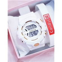 Women's Digital Watch Digital Classic Chronograph Digital White Blue Blushing Pink / Rubber / Large Dial White