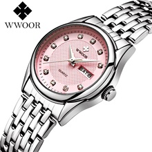 women's silver bracelet stainless steel wrist watch ladies date and week watches red Pink
