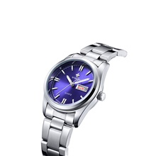 women fashion watch quartz waterproof stainless steel round date analog casual business lady watches (blue) Steel belt blue surface 8804