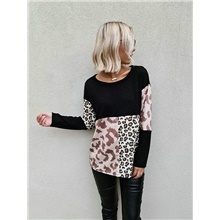 Women's Basic Leopard Color Block Cheetah Print Sweater Long Sleeve Sweater Cardigans Crew Neck Round Neck Winter Black Black,S