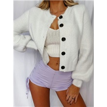 Women's Solid Colored Cardigan Long Sleeve Sweater Cardigans Open Front Winter White Blushing Pink Green White,S