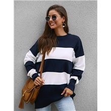 Women's Basic Stripe Knitted Striped Cardigan Long Sleeve Loose Sweater Cardigans Crew Neck Round Neck Fall Blue Yellow Green Blue,S