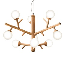 9-Light 90 cm Single Design Chandelier Wood / Bamboo Glass Modern 110-120V 220-240V 110-120V