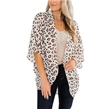 women& #39;s floral print kimonos loose half sleeve shawl chiffon cardigan blouses casual beach cover ups & #40;x-large, brown& #41; White,S