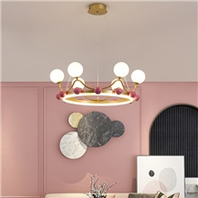 60 cm LED Pendant Light Crown Design LED Nordic Style Geometric Shapes Metal Painted Finishes 220-240V 110-120V,6 Heads,Gold,1 pc