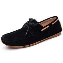 Men's Boat Shoes Casual Daily Walking Shoes Leather Black Khaki Green Spring Fall Black,US6-6.5 / EU38 / UK5-5.5