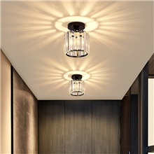 14 cm Round Square Ceiling Light Corridor Light Crystal Gold Black Siliver Flush Mount Lights Metal Electroplated Painted Finishes Modern Nordic Style 220-240V Warm White White Neutral Light,220-240V,1 Head,Black,1 pc,Square
