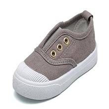 toddlers little boys girls no tie slip on washable lightweight causal deck boat shoes plimsolls gray size 6.5 m Customized without commodity price,35