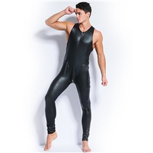 Exotic Dancewear Leotard / Onesie Full Length Visible Zipper Solid Men's Party Performance Sleeveless Natural Spandex Black,M