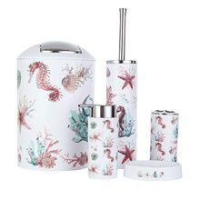 European Style Bathroom Accessories Sanitary Ware 6 Piece Bathroom Set With Wash Cups Toothbrush Holder Soap Dish Dispenser Holiday Bathroom Decoration Gift Idea 1#