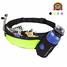 running belt waist pack with water bottle holder fitness waterproof bum bag cycling waist bag workout pouch dog walking bag for travelling running cycling camping hiking with headphone hole fluorescent green,6 inches