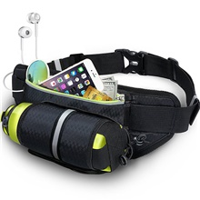 Fanny Pack Hiking Waist Bag Running Pack for Fitness Running Camping Cycling Sports Bag Waterproof Lightweight Wearable with Water Bottle Holder Adjustable Buckle Multiple Pockets Nylon Men's Women's Black