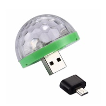 LED Mini USB Magic Ball Light Colorful Atmosphere RGB DJ Club Disco Party Car Lamp Stage Effect Portable Xmas Halloween Holiday USB
