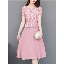Women's A-Line Dress Knee Length Dress - Short Sleeve Floral Lace Summer Casual Elegant Slim 2020 Blushing Pink Gray M L XL XXL 3XL 4XL Blushing Pink,M
