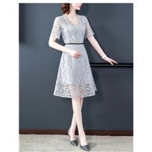 Women's A-Line Dress Knee Length Dress - Short Sleeve Solid Color Lace Summer V Neck Elegant Slim 2020 Gray S M L XL XXL Gray,S