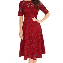 Women's Sheath Dress Knee Length Dress - Half Sleeve Solid Color Lace Patchwork Summer Off Shoulder Elegant Going out Slim 2020 Red Gray S M L XL XXL 3XL Red,S