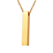Personalized Customized Women's Pendant Necklace 18K Gold Plated Stainless Steel Geometrical Cuboid 1pc / pack Golden Rose Gold Black Line 1,Font 1,Golden