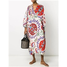 Women's Swing Dress Midi Dress - Long Sleeve Print Patchwork Print Summer V Neck Casual Loose 2020 Red Yellow Orange Green S M L XL XXL 3XL Red,S