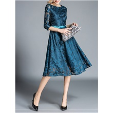 Women's Swing Dress Knee Length Dress - Half Sleeve Solid Color Lace Embroidered Summer Casual Elegant Loose 2020 Blue Beige Gray S M L XL XXL 3XL Blue,S