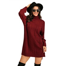 Women's Basic Knitted Solid Color Plain Pullover Long Sleeve Sweater Cardigans Turtleneck Fall Winter Wine Wine,S