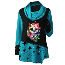 Women's Tunic Star Bull Long Sleeve Print Round Neck Tops Loose Basic Basic Top Blue Red Green Blue,S
