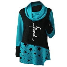 Women's Tunic Letter Star Long Sleeve Print Round Neck Tops Loose Basic Basic Top Blue Red Green Blue,S