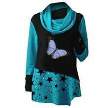 Women's Tunic Butterfly Star Long Sleeve Print Round Neck Tops Loose Basic Basic Top Blue Red Green Blue,S