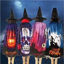 Halloween Pumpkin Skull Ghost Pattern Cloak Hat Party Costume Robe Cape Ponchos Random Colors,1