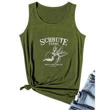 schrute farms tank tops womens funny graphic sleeveless vest t-shirt casual summer cute tshirt tops grey Army green vest (white font),S
