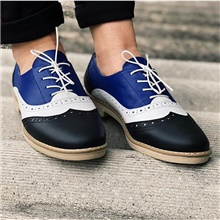 Women's Oxfords Block Heel Round Toe Classic Daily Color Block PU Blue Pink Blue,US5 / EU35 / UK3 / CN34