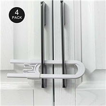 4pcs sliding baby cabinet locks, easy for parents,  u shape baby proof cabinet latches, handles on kitchen, fridge, cabinet, cupboard, closet, bathroom 190*55*15