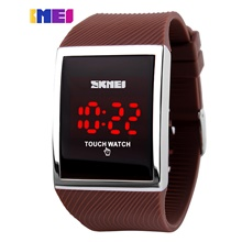 touch screen digital led waterproof men womens sport casual wrist watches black (blue) Brown strap