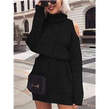 Women's Basic Knitted Solid Color Plain Pullover Long Sleeve Sweater Cardigans Turtleneck Fall Winter Black Blushing Pink Khaki Black,One-Size