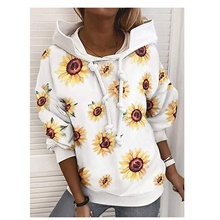 Women's Daily Pullover Hoodie Sweatshirt Floral Star Casual Hoodies Sweatshirts  White Black Navy Blue White,S